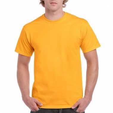 Goedkope gekleurde shirts donker goudgeel voor volwassenen