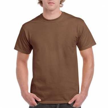 Goedkope gekleurde shirts donker kastanjebruin voor volwassenen
