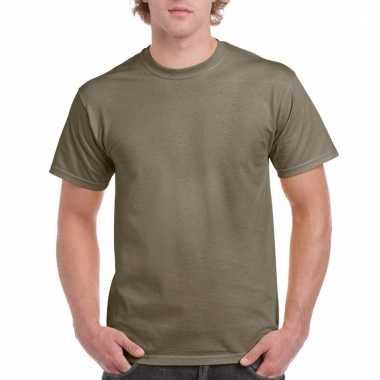 Goedkope gekleurde shirts kaki voor volwassenen