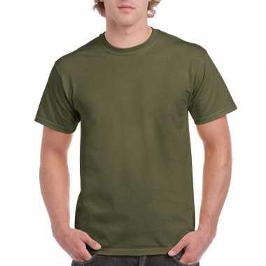 Goedkope gekleurde shirts legergroen voor volwassenen