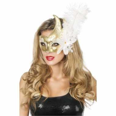 Goud met wit venetiaans oogmasker met bloem en veer