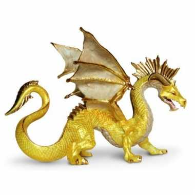Gouden draak van plastic 17 cm