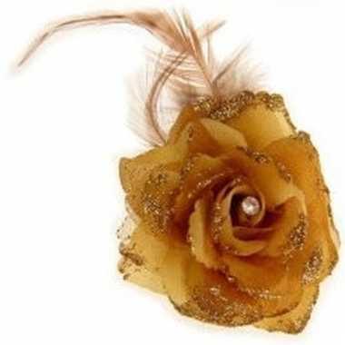 Gouden haarbloem met elastiek en klem