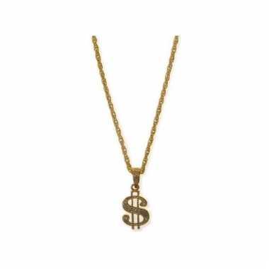 Gouden ketting met dollarteken