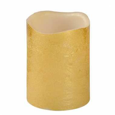 Gouden metallic ledkaars 10 cm