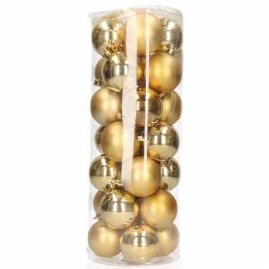 Gouden mini kerstballen 28 stuks