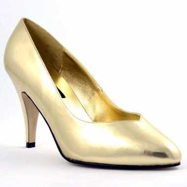 Gouden pumps met spitse neus