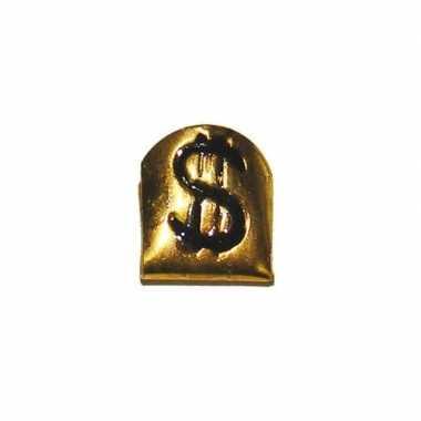 Gouden tandje met dollarteken
