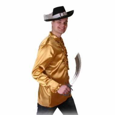 Goudkleurig piraten shirt voor heren
