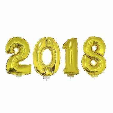 Goudkleurige 2018 jaarwisseling folieballonnen