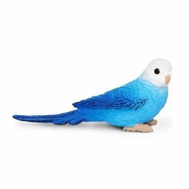 Grasparkiet blauw van plastic 7 cm