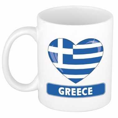 Griekse vlag hart mok / beker 300 ml