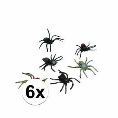 Griezelige spinnen 6 stuks 10 cm