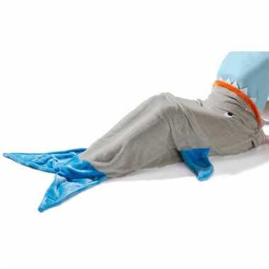 Grijs/blauwe haaien staart/vin 140 x 50 cm voor kinderen