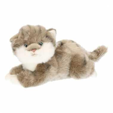 Grijs poesje/katje/kitten knuffeldier 27 cm