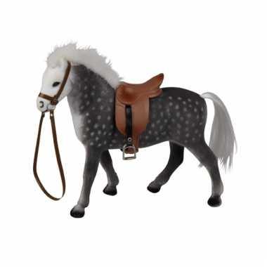 Grijs speelgoed paard met zadel 23 cm