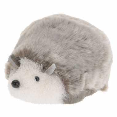Grijs witte liggende deco egel 18 cm