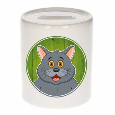 Grijze katten spaarpot van keramiek 9 cm
