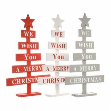 Grijze kerstboom hout met tekst 51 cm