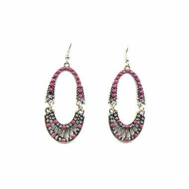 Grijze oorbellen met roze kraaltjes