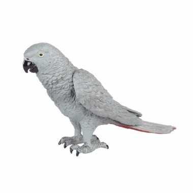 Grijze papegaai met een rode staart 15cm