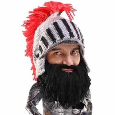 Grijze ridder helm met zwarte baard