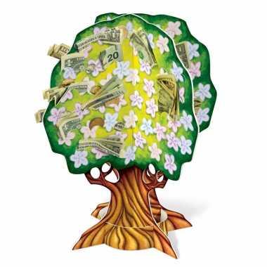 Groen geldboompje met gekleurde bloemen