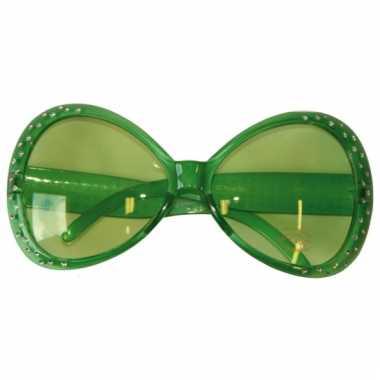 Groene feest bril met diamantjes