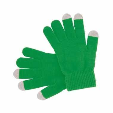 Groene handschoenen voor je mobiel