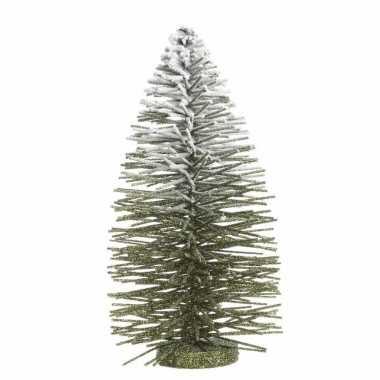 Groene kerst kunstboom met besneeuw top 35 cm