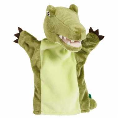Groene krokodillen handpop 22 cm