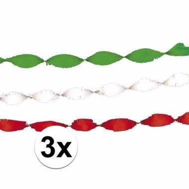 Groene rode witte feest slingers