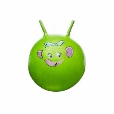 Groene skippybal met dieren gezicht 46 cm
