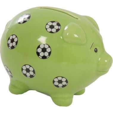 Groene spaarvarkens met voetbal print 9 cm