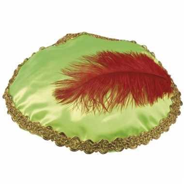 Groene zwarte piet baret met veer