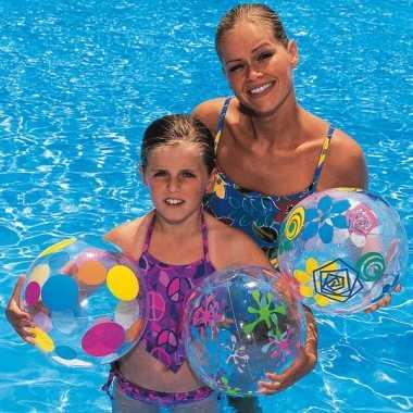 Grote gekleurde strandbal met figuren 41 cm