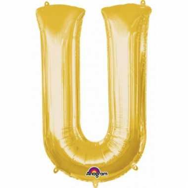 Grote letter ballon goud u 86 cm