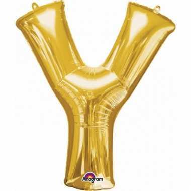 Grote letter ballon goud y 86 cm