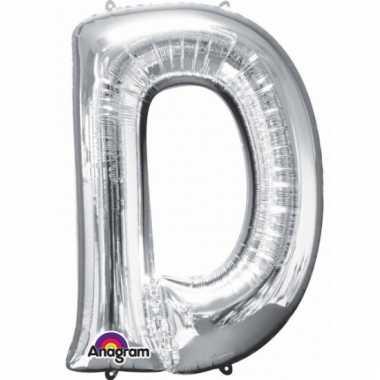 Grote letter ballon zilver d 86 cm