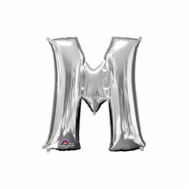 Grote letter ballon zilver m 86 cm