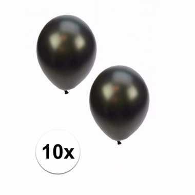 Grote metallic zwarte ballonnen 10x