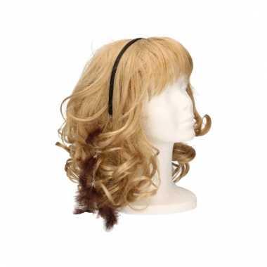 Haarband met donkerbruine veertjes
