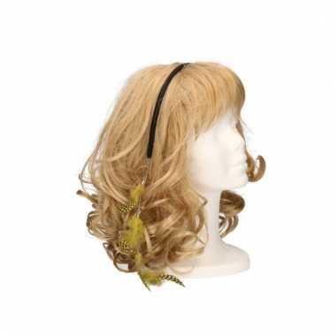 Haarband met gele veertjes
