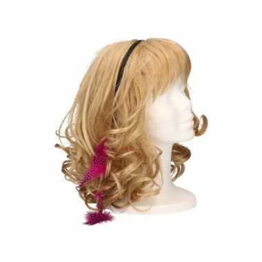 Haarband met roze veertjes