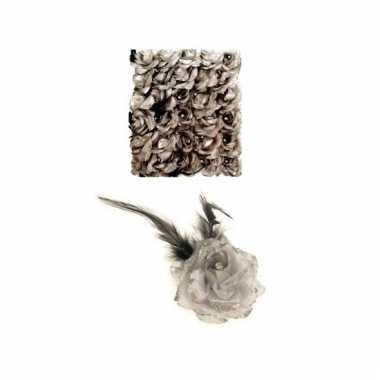Haarbloem zilver met elastiek