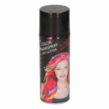 Haarverf spray zwart metallic met glitters