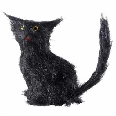 Halloween deco kat zwart 12 cm