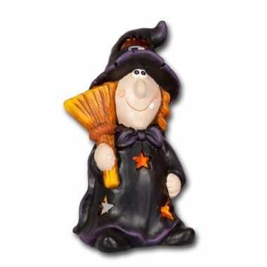 Halloween kaarshouder heks met bezem