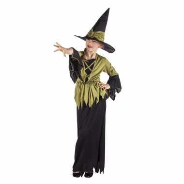 Halloween meisjes kostuum heks zwart met groen