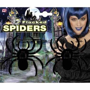 Halloween spinnen van fluweel 2 stuks